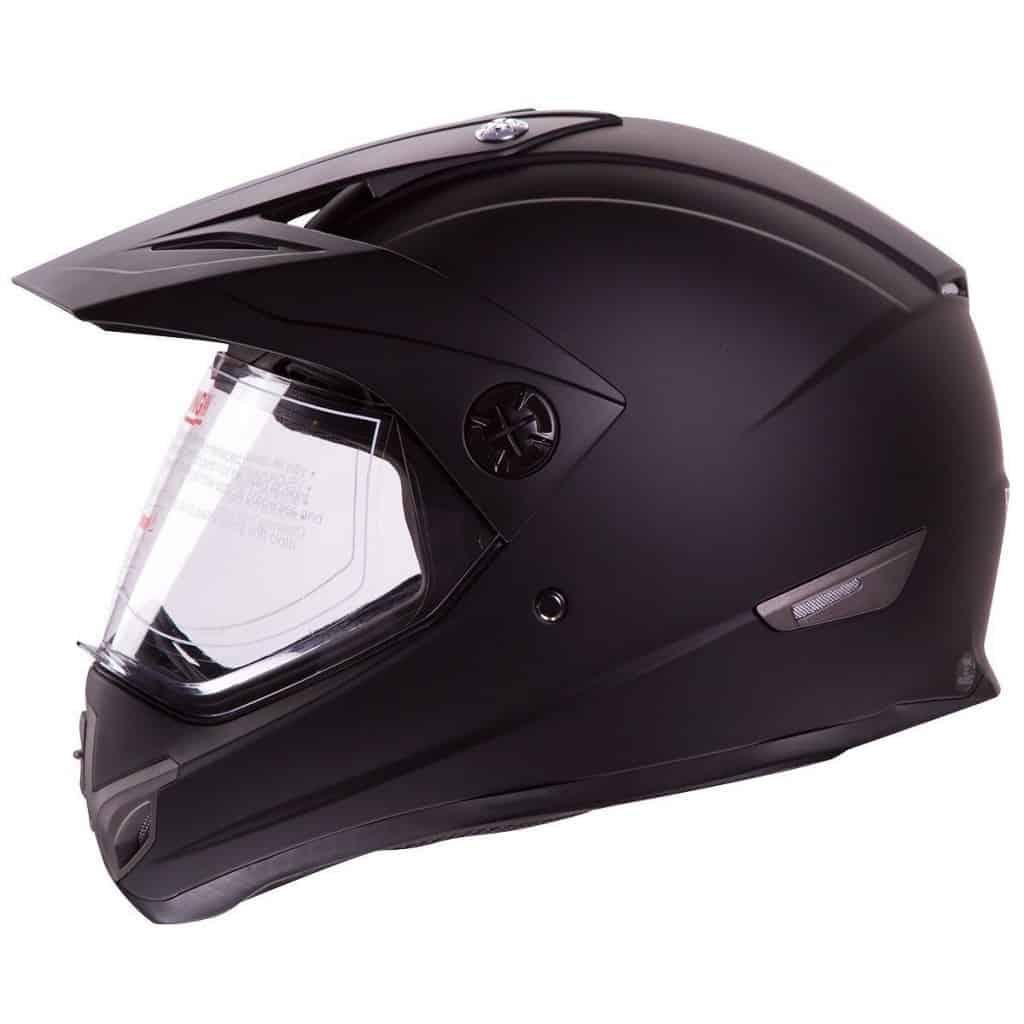 IV2 Flat Black Dual Sport ATV UTV Motocross Street Bike Hybrid Helmet