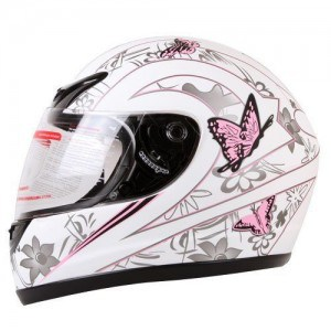 IV2 Matte White Pink Butterfly Full Face Motorcycle Helmet