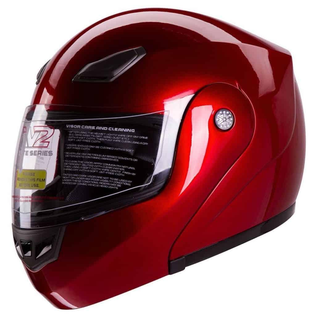 IV2 Metallic Wine Red Modular Flip Up Helmet