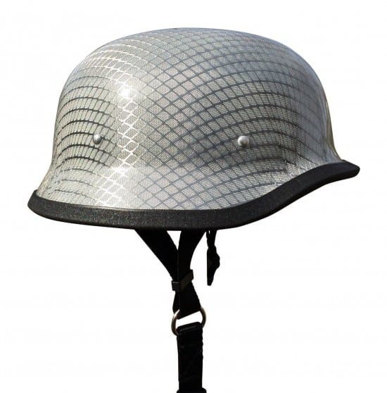 German helmet with chrome mesh weave pattern