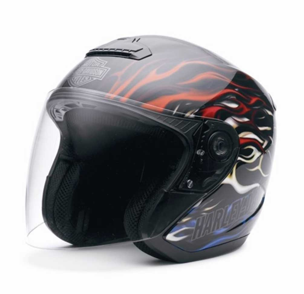 Harley-Davidson Men's Americana Hybrid Black Flaming ¾ Helmet