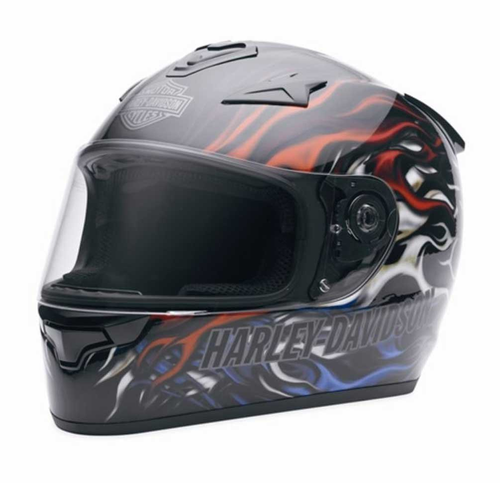 Harley-Davidson Men's Americana Hybrid Black Flaming Full Face Helmet