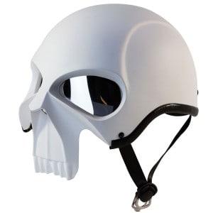 IV2 3D SKULL Chopper, Cruiser, Beanie, Half Helmet Matte White Motorcycle Helmet