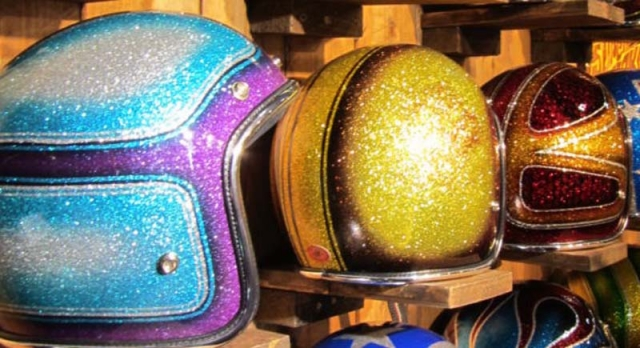 Helmets painted with glitter