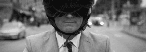 happy man without helmet dandruff