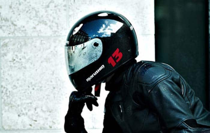 Rider wearing a full face touring helmet